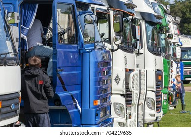 NORFOLK, UK - AUGUST 19th, 2017: Truckfest Norwich is a transport festival in the UK based around the haulage industry located in Norfolk. Including Monster Truck car crushing.