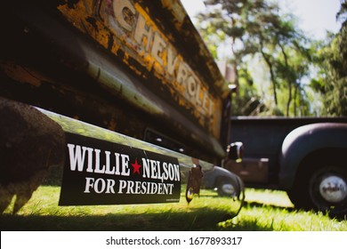 NORFOLK, UK - MAY 7, 2017: Chevrolet 3100 rear bumper with Willie Nelson for president sticker