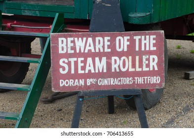 Norfolk  United Kingdom   August  21 2017: Beware of Steam Roller sign