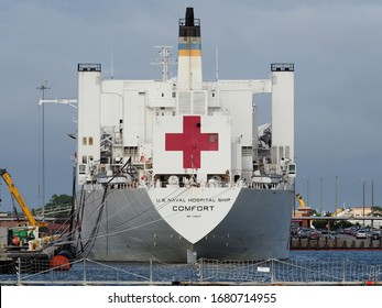 Norfolk, USA - June 9, 2019: Image of the U.S. naval hostpital ship COMFORT anchored in the naval base of Norfolk.