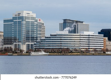 NORFOLK, VA, USA - DECEMBER 16:  World Trade Center and 150 West Main Street Building on December 16, 2016 in downtown Norfolk, Virginia.  Viewed from across the Elizabeth River.