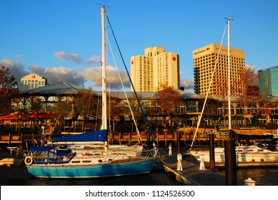 Norfolk, VA, USA October 27 A small marina stands in front of Waterplace, a modern shopping center in Norfolk, Virginia