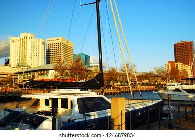 Norfolk, VA, USA October 27, 2008 The skyline of Norfolk Virginia rises behind a sailboat at the city's marina