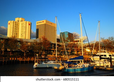 Norfolk, VA, USA October 27, 2008 The skyline of Norfolk Virginia Skyline rises behind the marina at Waterside, a retail and entertainment complex on the Elizabeth River River