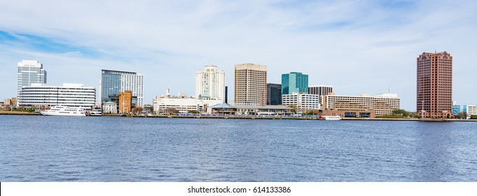 Norfolk, Virginia city skyline across the Elizabeth River