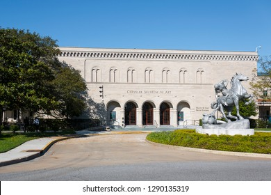 NORFOLK, VIRGINIA - MAY 2, 2015:  The Chrysler Museum of Art, a museum located on the border of the Ghent District and downtown Norfolk.  It was originally founded in 1933.