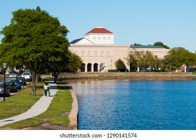 NORFOLK, VIRGINIA - MAY 2, 2015:  The Chrysler Museum of Art sits along the Hague, a Y-shaped inlet off the Elizabeth River.  The museum was originally founded in 1933.