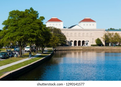 NORFOLK, VIRGINIA - MAY 2, 2015:  The Chrysler Museum of Art sits along the Hague, a Y-shaped inlet off the Elizabeth River.  The museum is located on the border of the Ghent district and dowtown.
