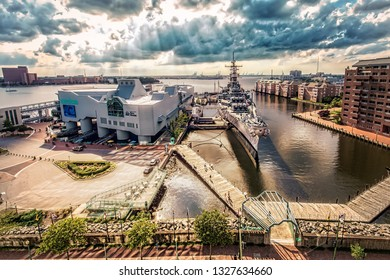Norfolk, Virginia / United States – June 30, 2016: The USS Wisconsin sits docked outside the Nauticus and Hampton Roads Naval Museum.