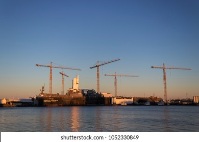 NORFOLK, VIRGINIA, USA - JANUARY 18, 2018:  The General Dynamics NASSCO-Norfolk shipyard.