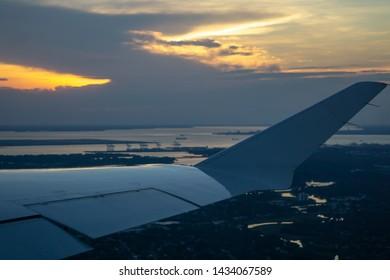 norfolk virginia va port city at sunset