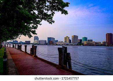 Norfolk, Virginia/United States-June 2, 2019: Shot of Downtown Norfolk