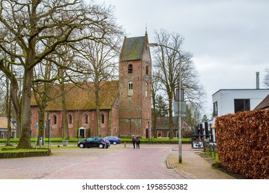 Norg, The Netherlands - March 21, 2021: Village view with church of picturesque old village Norg located in municipality of Noordenveld in Drenthe in The Netherlands