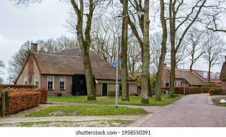 Norg, The Netherlands - March 21, 2021: Village view with historic houses in picturesque old village Norg located in municipality of Noordenveld in Drenthe in The Netherlands