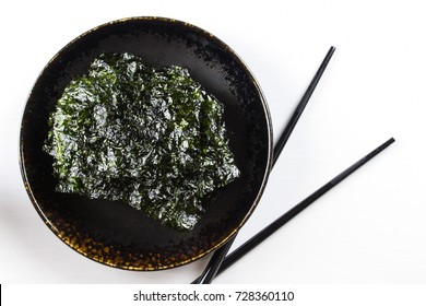 Nori Seaweed on Black plate