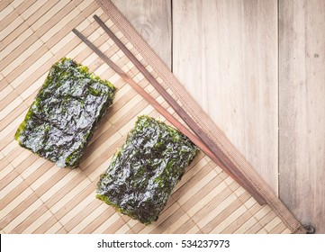 Nori sheets on wood,top view