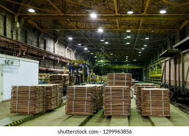 Norilsk, Krasnoyarsk Region, Russia - November 18, 2018: Stacks of copper sheets. Warehouse of finished products at the metallurgical plant.