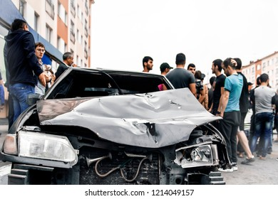 Norilsk, Russia - July 2, 2018: Accident in car accident on street.