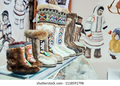 NORILSK, RUSSIA - JULY 7, 2016: Unty - traditional footwear of the peoples of the far North, sold in the store.
