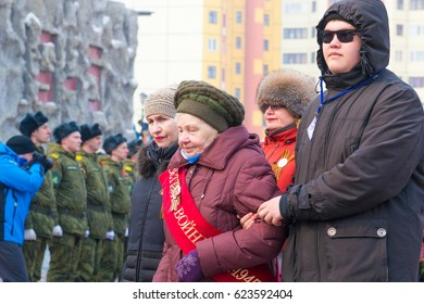 NORILSK, RUSSIA - MAY 9, 2016: Procession of veterans of the Great Patriotic War
