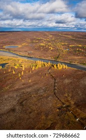 Norilsk, Russia. View from the helicopter to the autumn tundra.