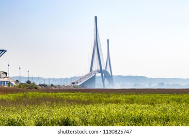Normadie bridge and its morning haze, France