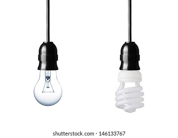 Normal and energy saver lightbulb isolated on white
