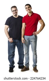A normal overweight man 30 years old next to a young athletic man of 20 isolated on white background.