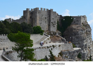The Norman castle in Erice, near Trapani, Sicily (Italy)