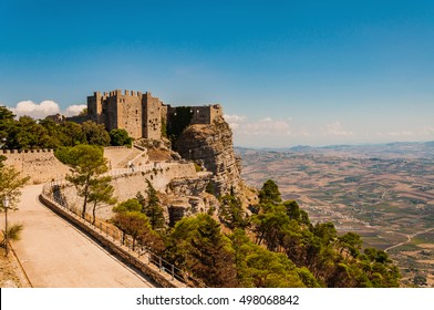 Norman castle or medieval Castle of Venus in Erice, province of Trapani in Sicily, Italy.