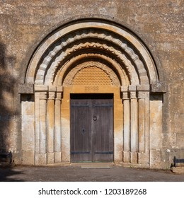 Norman doorway at Guiting Power church, Cotswolds, Gloucestershire, England