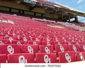 NORMAN, OKLAHOMA—Bleachers at the Gaylord Family Oklahoma Memorial Stadium at the University of Oklahoma taken in March 2017