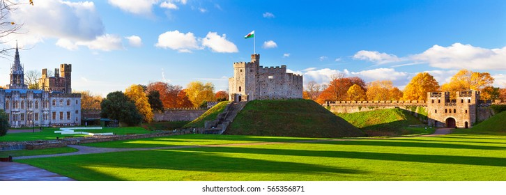 Norman Keep, Cardiff Castle,Panoramic, Autumn, Cardiff, Wales, UK