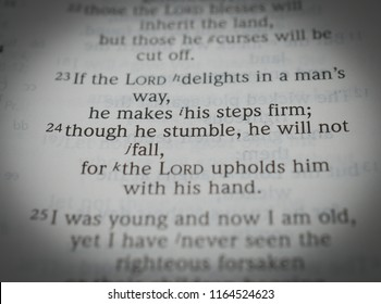 Norman, OK 8/26/2018 Close up photo of the famous and popular bible verse: Psalm 37: 24 Though he stumble, he will not fall