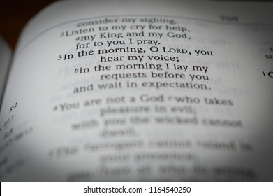 Norman, OK 8/26/2018 Close up photo of the famous and popular bible verse: Psalm 5:3 In the morning, O Lord, you hear my voice