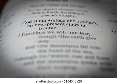 Norman, OK 8/26/2018 Close up photo of the famous and popular bible verse: Psalm 46:1 God is our refuge and strength...