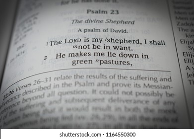Norman, OK 8/26/2018 Close up photo of the famous and popular bible verse: Psalm 23