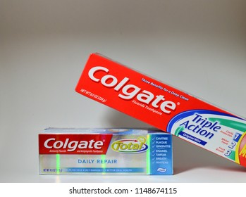 Norman, OK Aug 8, 2018 Two different Colgate toothpaste on a white background