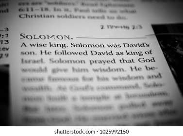Norman, OK Feb. 15, 2018 The word: Solomon defined in a religious dictionary. Selective focus on the word: Solomon.