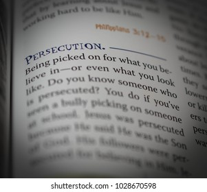 Norman, OK Feb. 17, 2018 The word: persecution defined in a religious dictionary. Selective focus on the word: Persecution.