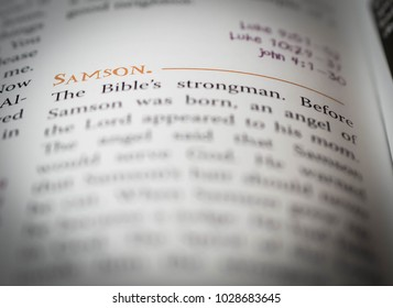 Norman, OK Feb. 17, 2018 The word: Samson defined in a religious dictionary. Selective focus on the word: Samson.