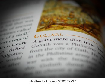 Norman, OK Feb. 7, 2018 The definition of the word: Goliath in a religious dictionary. Selective focus on the word: Goliath.
