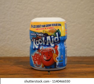 Norman, OK June 20, 2018 Close up photo of a can of Kool-Aid drink mix. Tropical Punch flavor