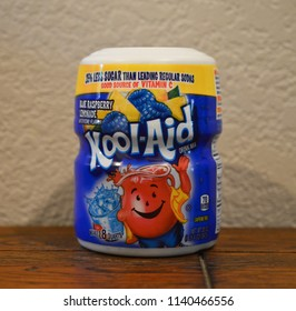 Norman, OK June 20, 2018 Close up photo of a can of Kool-Aid drink mix. Blue Raspberry Lemonade flavor