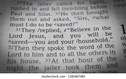 """Norman, OK Sept. 22, 2018 A close up of the bible verse: Acts 16:31 They replied, """"Believe in the Lord Jesus, and you will be saved- you and your household."""""""