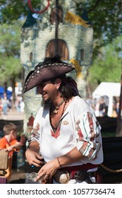 NORMAN, OKLAHOMA -  APRIL 01 2007: A man with a pirate hat in annual Medieval Fair event