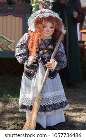 NORMAN, OKLAHOMA -  APRIL 01 2007: An ugly doll with a broom in annual Medieval Fair event