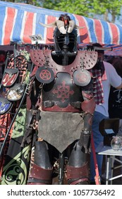 NORMAN, OKLAHOMA -  APRIL 01 2007: A leather armor and metal hel