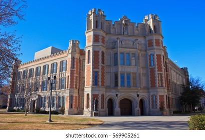 NORMAN, OKLAHOMA - DECEMBER 16, 2013: The University of Oklahoma, founded in 1890, features the Cherokee Gothic style of architecture. The Donald W. Reynolds Performing Arts Center is a prime example.