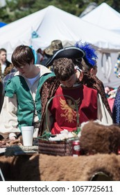 NORMAN, OKLAHOMA -  MARCH 31 2007: Men wearing medieval costumes in annual Medieval Fair event